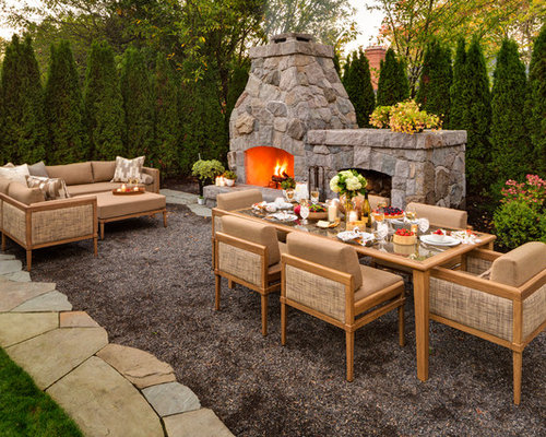 Inspiration For A Timeless Gravel Patio Remodel In Portland With A Fire Pit