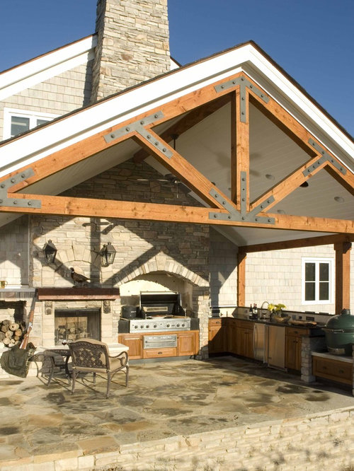 Exposed truss roof framing home design ideas pictures for Open beam front porch