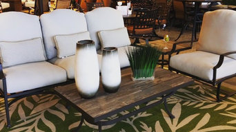 Transitional cream patio set with raw wood and metal accent tables