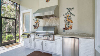 Transitional Style Summer Kitchen and Indoor Fireplace