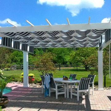 Trex Pergola+ShadeTree Canopy Poolside