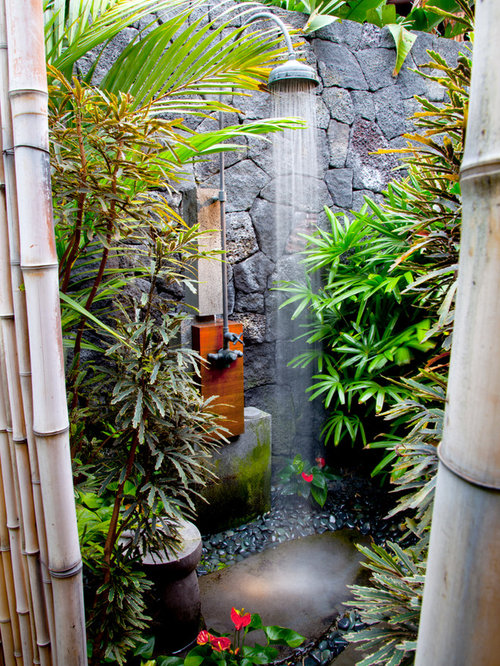 Amazing Tropical Outdoor Shower Ideas Part - 2: Example Of An Island Style Outdoor Patio Shower Design In Hawaii