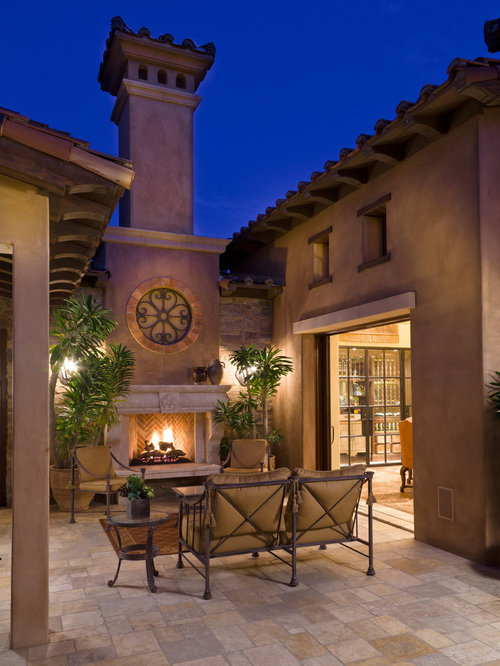 Courtyard fireplace home design ideas pictures remodel for Mediterranean courtyards photos