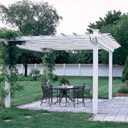 "Tuscan Pergola - Classic styling in your favorite location makes this a handsome open-air structure for your patio furniture or perhaps even your hot tub. Four 5 1/2"" square posts support the pergola structure pictured here.  The four pergola carrying beams are 1 1/2"" x 7 1/4"".  The 1 1/2"" x 5 1/2"" cross members are notched for easy assembly.  Lathing is 1 1/2"" square.  The number of cross members you require will depend on the length of pergola you choose.  Ten laths, 1 3/4"" sq. completes the structure.  Cellular Vinyl. Prefinished white.  Shipped kit. Motor freight."