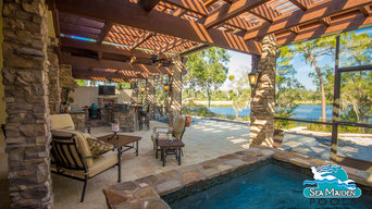 Tuscan Style Outdoor Living Space - Pergola