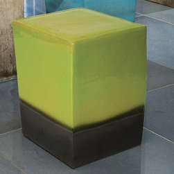 Two Color Ceramic Outdoor Stools - These ceramic square outdoor stools are available in two color finishes with jewel-like glazes.