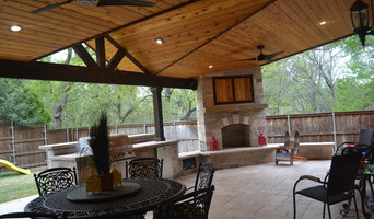 Two-toned mini gable patio cover with full kitchen and fireplace