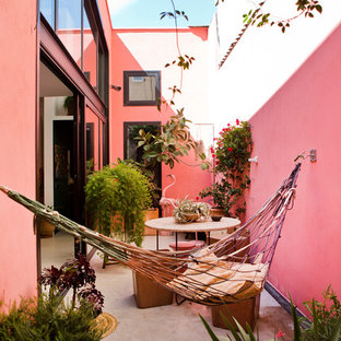 Inspiration for a contemporary courtyard patio in Barcelona with a container garden, no cover and concrete slab.