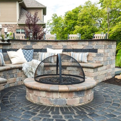 Inspiration for a contemporary backyard patio remodel with a fire pit and no cover