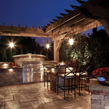 Unilock Rivenstone patio with Brussels Dimensional BBQ grill island