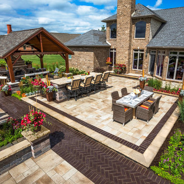 Unilock Umbriano patio with Legstone and Town Hall walkway accent