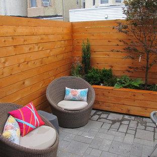 Immagine di un grande patio o portico design dietro casa con un giardino in vaso, piastrelle e nessuna copertura