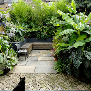 World-inspired patio in London with a potted garden and no cover.