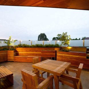 Patio kitchen - contemporary patio kitchen idea in Melbourne with a roof extension