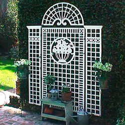 Vigny Outdoor Wall Trellis - The Vigny outdoor wall trellis can be used for roses or vines or as decorative wall art. It is made of wood and finish with an exterior white or green paint.