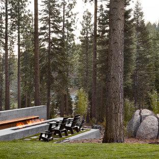 Idee per un ampio patio o portico moderno dietro casa con un focolare, lastre di cemento e nessuna copertura