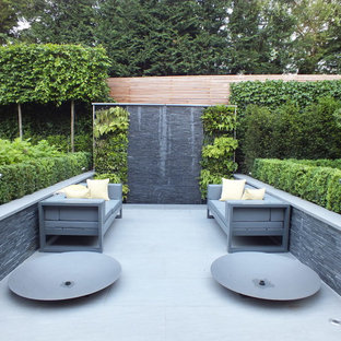 This is an example of a medium sized contemporary patio in Hertfordshire with a living wall and no cover.