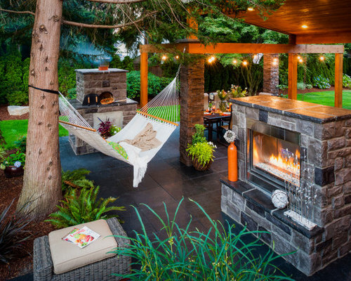 Example of a trendy patio design in Portland with a fire pit - Patio Hammock Houzz