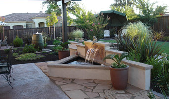 Water Feature with stucco and tile back splash