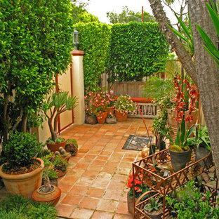 Esempio di un patio o portico eclettico di medie dimensioni e in cortile con un giardino in vaso, piastrelle e nessuna copertura
