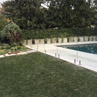 Idee per un patio o portico moderno di medie dimensioni e dietro casa con lastre di cemento e nessuna copertura