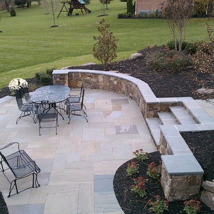 Western Maryland Wall Stone Retaining Wall with Flagstone Cap