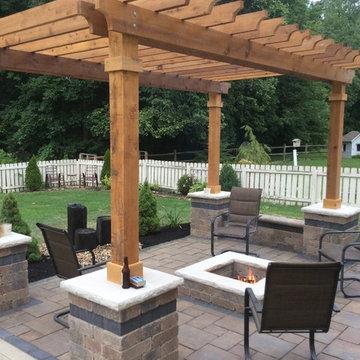 Westerville patio, pergola fire-pit