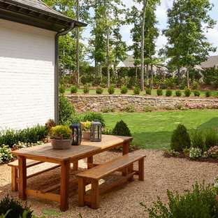 Inspiration for a mid-sized craftsman courtyard gravel patio remodel in Birmingham with no cover