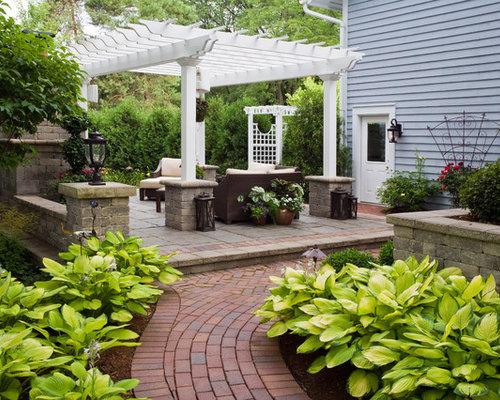 Grey brick wall patio design ideas renovations photos for Brick wall patio designs