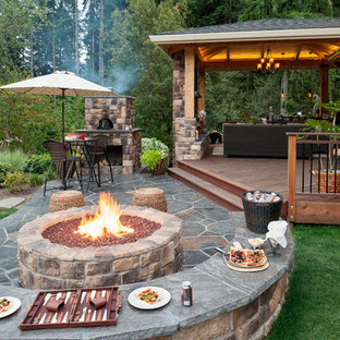 This is an example of a traditional patio in Portland with a fire feature.