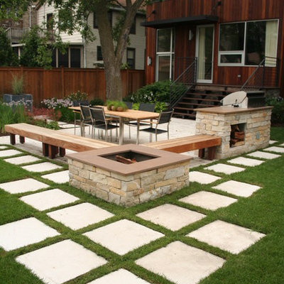 Trendy patio photo in Chicago with a fire pit