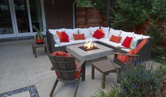 Wicker Patio Furniture Around Custom Fire Pit