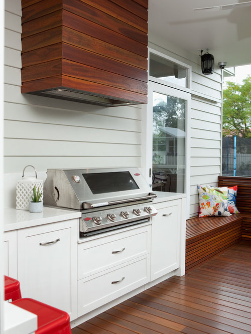 Inspiration For A Transitional Backyard Patio Kitchen Remodel In Brisbane With Decking And Roof Extension