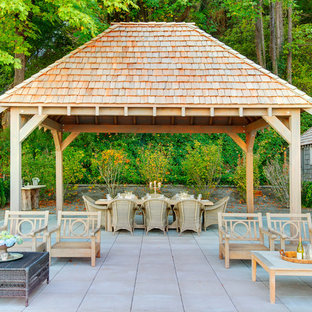 Inspiration for a timeless patio remodel in Seattle with a gazebo