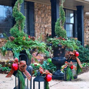 Foto di un piccolo patio o portico davanti casa con un giardino in vaso