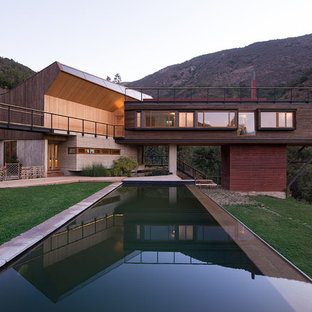 Inspiration for a contemporary backyard rectangular pool remodel in Other