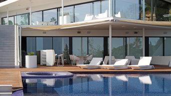 Fachada Sur y piscina