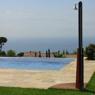 Ejemplo de casa de la piscina y piscina alargada, actual, grande, rectangular, en patio delantero