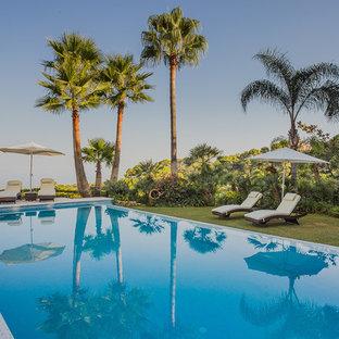 Foto de casa de la piscina y piscina alargada, actual, grande, rectangular, en patio trasero
