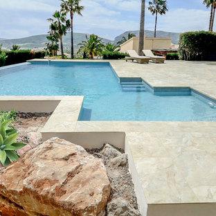 Modelo de piscina alargada, clásica renovada, grande, a medida, en patio, con suelo de baldosas