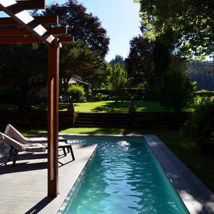 Ejemplo de casa de la piscina y piscina alargada, de estilo de casa de campo, de tamaño medio, en forma de L, en patio trasero, con suelo de baldosas
