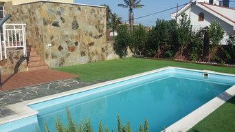 Piscina y solarium chalet Marzagan Gran Canaria