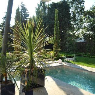 Ejemplo de piscina alargada, moderna, grande, rectangular, en patio lateral, con gravilla