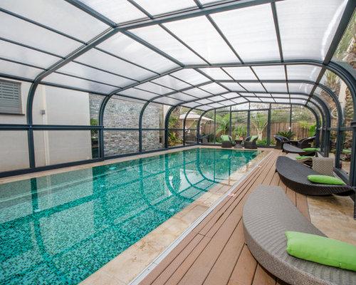 diseo de piscina alargada actual rectangular con entablado with piscinas alargadas