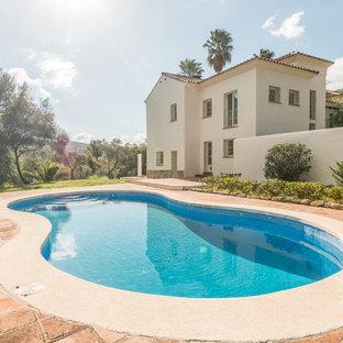 Modelo de piscina alargada, de estilo de casa de campo, grande, tipo riñón, en patio lateral, con granito descompuesto