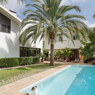 Diseño de piscina actual, rectangular, en patio trasero, con adoquines de ladrillo