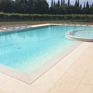 Ejemplo de piscina infinita, campestre, rectangular, en patio delantero