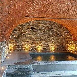 Ejemplo de piscinas y jacuzzis elevados, actuales, de tamaño medio, interiores y rectangulares, con suelo de baldosas