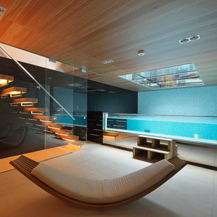 Example Of A Small Trendy Indoor Tile And Rectangular Aboveground Hot Tub  Design In London