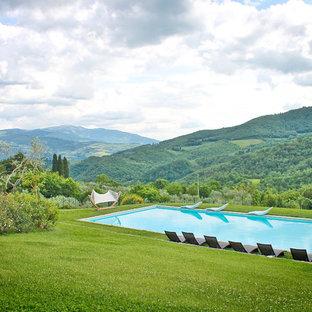 Esempio di una grande piscina country rettangolare dietro casa